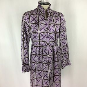 J Crew Silk Shirt Dress  100% Silk  Purple / Brown